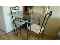 Glass top table & 3 chairs
