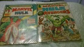 Two vintage 1970s Mighty World of Marvel Comics.