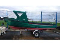 16' TRADITIONAL GRP FISHING BOAT, ENGINE, ROAD TRAILER MASSIVE REDUCTION IN PRICE £1400