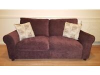 Tabitha 3 seater sofa in chocolate brown fabric, from Argos. Well-kept and appearing as new.
