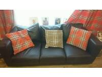 Lovely Three Seater And Two Seater Brown Leather Sofas