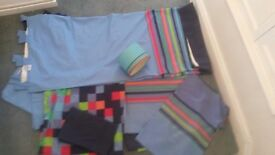 Next tab curtains, 2x single duvet covers, 2x pillow cases amd lamp shade