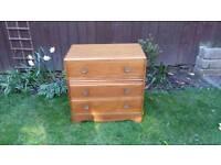 1940's three drawer chest of drawers