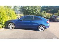 Blue Automatic 1.8 Petrol Mercedes C230 Kompressor panoramic Sunroof 2 door, 92,630 miles