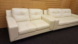 Domain cream leather sofa 3+2