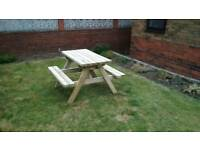 Picnic bench garden table 4 feet long heavy duty