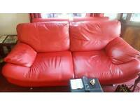 3x2 red leather suite