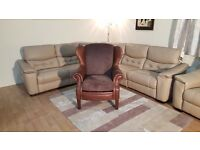 Ex-display Hudson Wingback brown leather and chenille fabric armchair