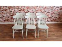 Six Farrow and Ball Mizzle Painted Farmhouse Slat Back Dining Chairs