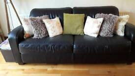 Dark browm leather sofa