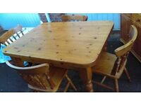 Solid pine Farmhouse table and 4 chairs.
