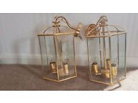 Vintage Italian ceiling light brass and glass panels x2