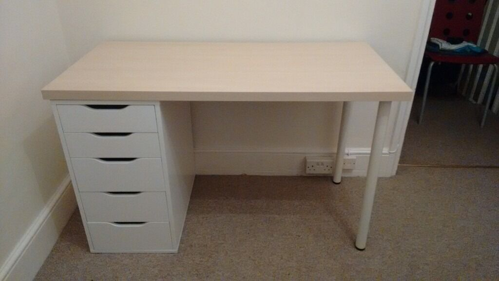 Desk Ikea Linnmon Alex 120cm X 60cm White With Maple Top
