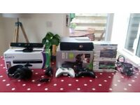 XBOX 360 250Gb plus Kinect and 17 games