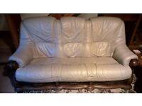 Leather sofa 3 piece suite, 3, 2 & single seater