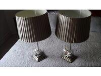 Pair dunelm antique brass table lamps
