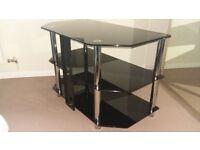 Black glass TV stand 3 shelves