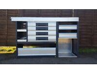 Van Racking / Shelving - BOTT - V G Condition - 4 Drawers / 1 Cupboard / 4 Shelves / Pipe Carrier