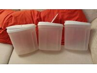 3 New Large Plastic Food Storage Containers