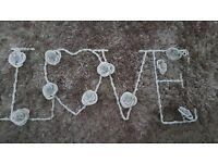 Metal Flower Love Sign
