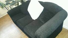 3 seater black contemporary sofa in excellent condition