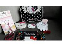 NEW WITH TAGS BUNDLE HELLO KITTY ITEMS MAKE UP BAG PENCIL CASE GLOVES ETC