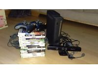 Xbox 360 with Kinect, headphones, 2 x controllers and games
