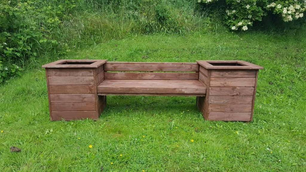 Wooden Garden Bench With Box Planters In Durham County