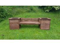 Wooden Garden Bench with Box Planters