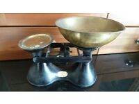 Vintage Kitchen Scales ~ Wm Hobbs Quality Cast Iron & Brass