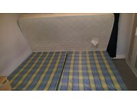Mattress Size double with bed ( 2 poufs )