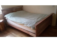 Solid wood bed, pine, washed white, 150x200 cm
