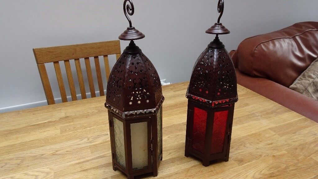 Candle Lanterns Glass Ornaments - Pair