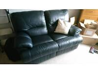 Leather 2 seater reclining couch