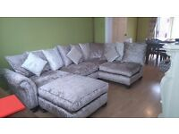 Crushed velvet corner couch with matching footstool,immaculate condition is mink