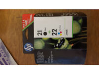 Genuine HP 21 + 22 Ink Cartridge combo pack