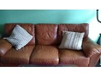 Large 3 seat real leather sofa