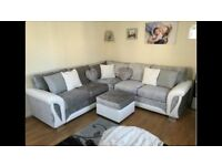 BRAND NEW Shannon corner/ 3 & 2 FAUX LEATHER & FABRIC CORNER SOFA , NOW AVAILABLE