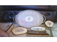 Very pretty vintage dressing table set and additional mother of pearl backed clothes brush SIX items