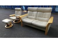 Ekornes Stressless Cream Leather Reclining Sofa & Armchair+stool Suite Set