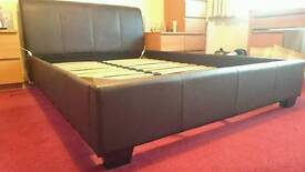 Brown leather bedframe and headboard