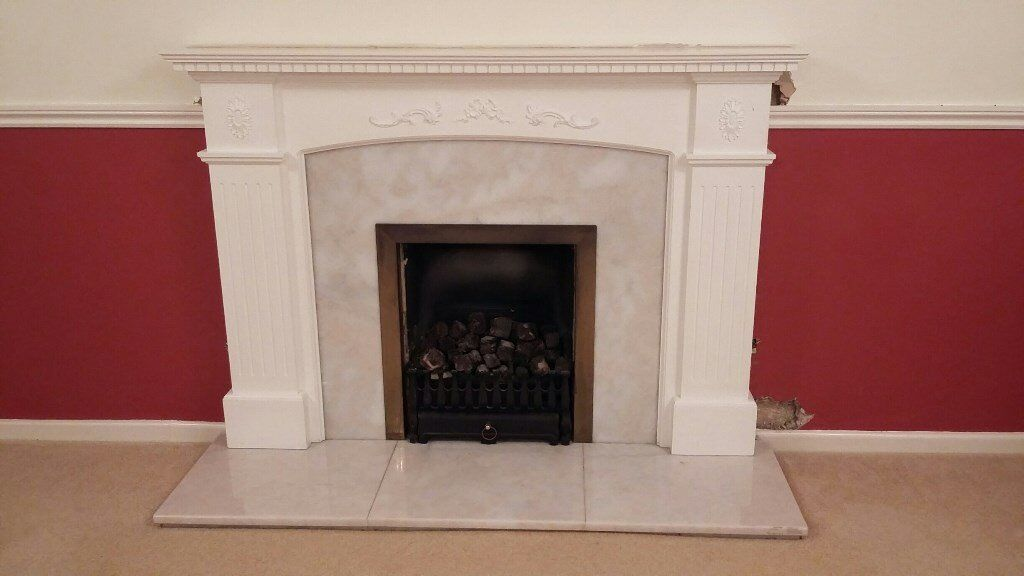 Wooden Fireplace Surround Brass Quartz Back Plate Hearth Reduced To