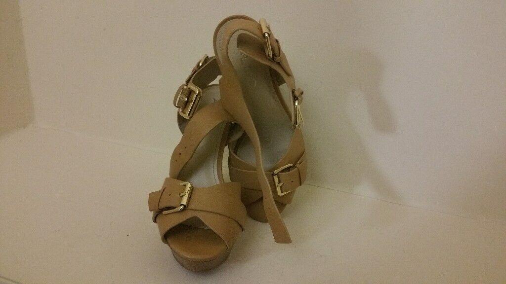 Camel Peep Toe Block Heels