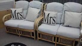 Wicker grey cushioned chairs for sale excellent condition