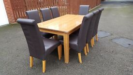 Solid Oak Dining Table (180cm) & 8 Genuine Leather Chairs FREE DELIVERY 114