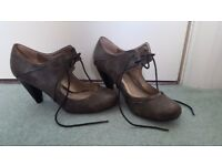 Lace Up Metallic Grey Heals. Dorothy Perkins. Worn once. £7