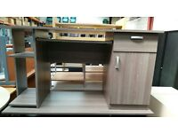 Straight Desk With One Small Cupboard, Shelves And One Drawer Attached