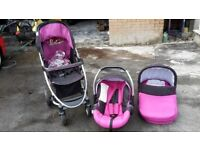 Baby pram carry cot car seat. Lovely condition