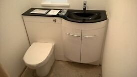 BRAND NEW WHITE VANITY UNIT TOILET AND GLASS TOP