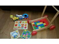 Collection of lovely wooden toys & puzzles in very good condition from smoke & pet free home